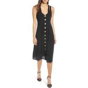 NWOT ROW A Button Front Cross Back Black Dress